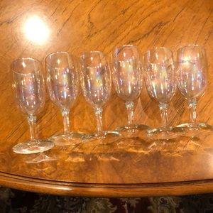 Set of 6 vintage iridescent petite goblet glasses